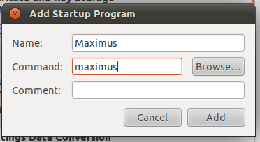 ubuntu startup program - add maximus