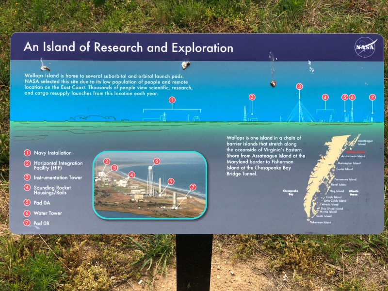 Info sign about the NASA Wallops Island facility