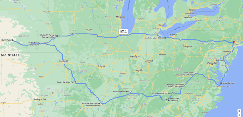 Road Trip Route on Google Maps