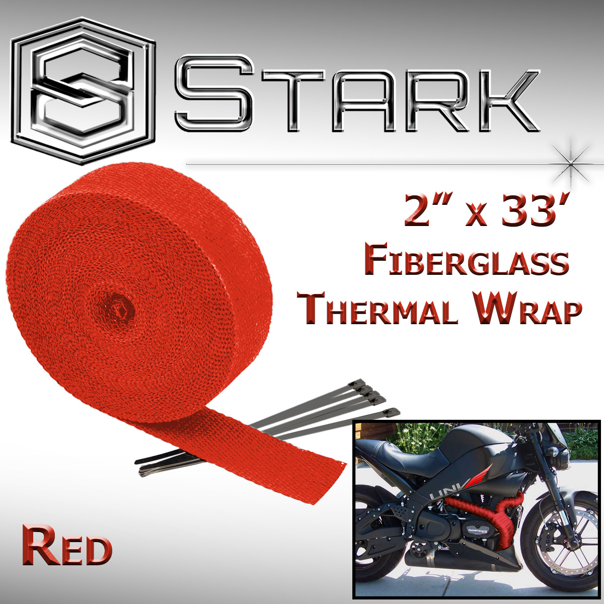 hight resolution of details about 2 x 33 in x ft motorcycle protection header exhaust heat wrap ties red a