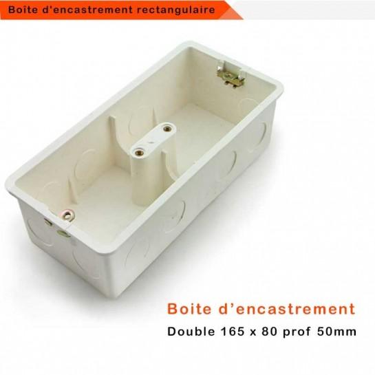 boite d encastrement universelle electrique double postes 165 x 80 profondeur 50 mm