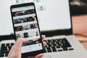 smartphone showing Instagram posts