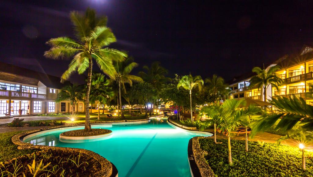 Amani Tiwi swimming pool at night.
