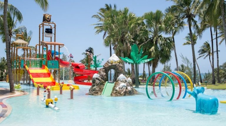 Safari-themed aqua park at PrideInn Paradise Beach Resort.