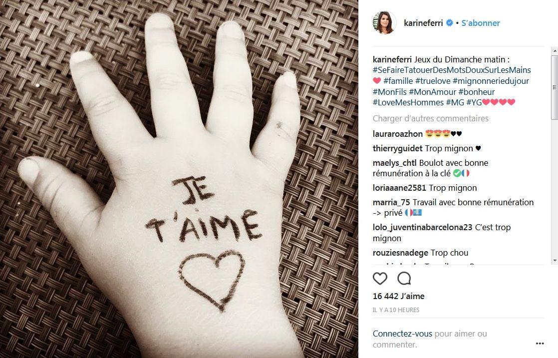 Karine Ferri : Elle « tatoue des mots doux » sur la main de son fils