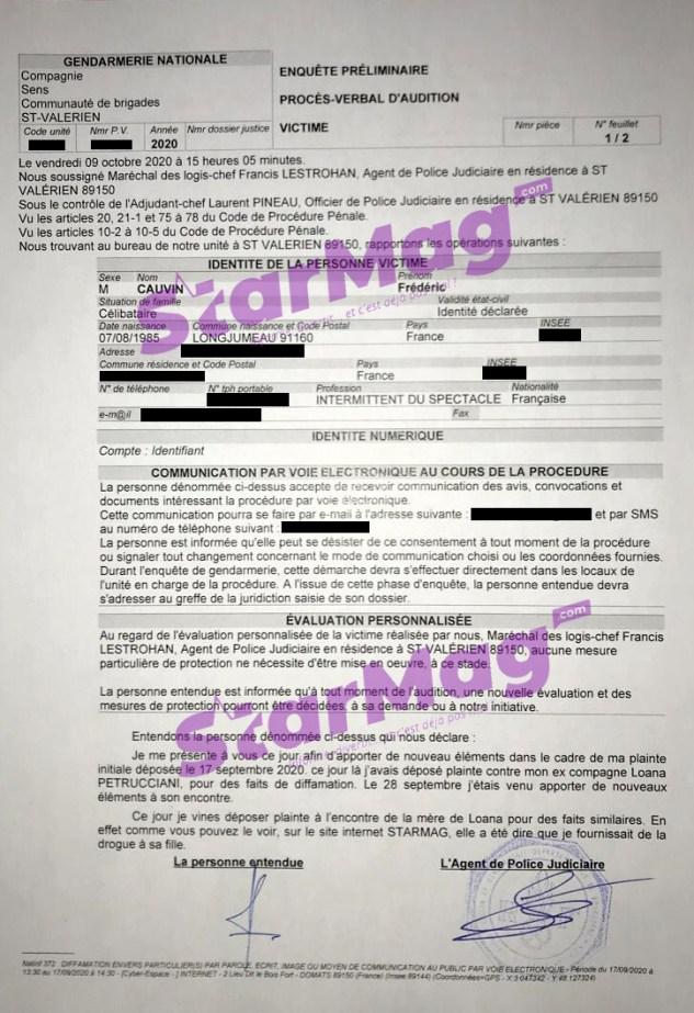 [EXCLU] Découvrez le dépôt de plainte de Fred Cauvin contre la mère de Loana