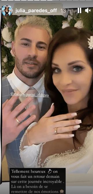 Julia Paredes, enceinte, elle a épousé Maxime Parisi lors d'une jolie cérémonie : toutes les photos