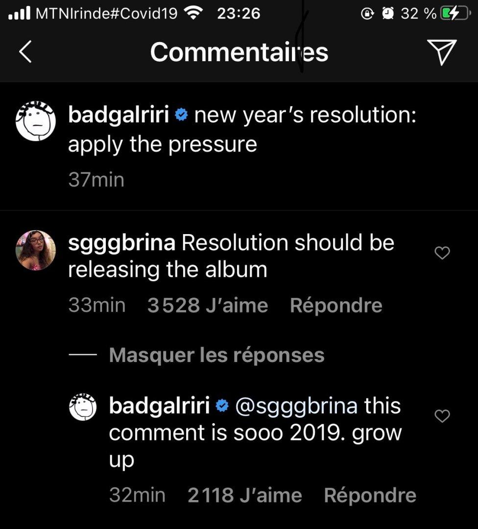 Rihanna répond à une fan sur Instagram
