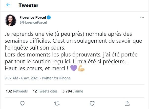 Le message de Florence Porcel pour son retour sur les réseaux sociaux @Twitter