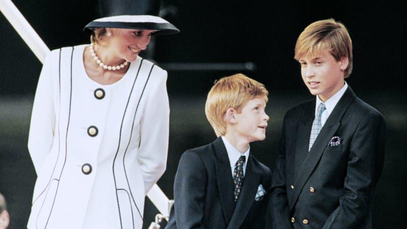 Lady Diana et les princes Harry et William en août 1995