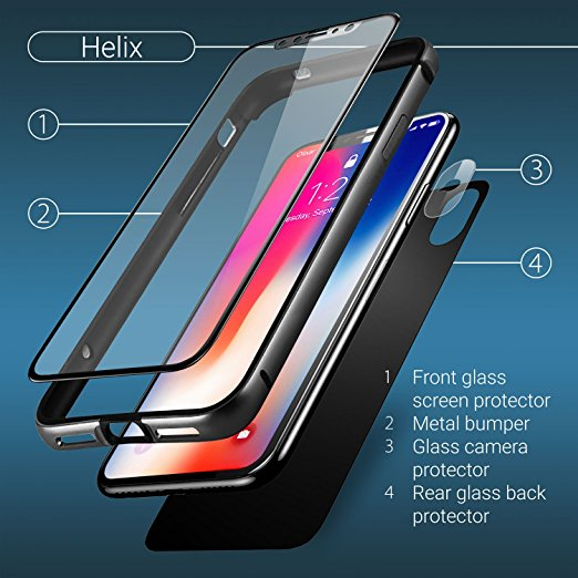 the latest 42c57 a079b iPhone X Front + Back Glass Screen defender And Case- Tempered Glass + Rear  Camera Glass defender - 360 Full Body Coverage - Olixar Helix - area gray