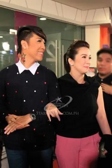Vice Ganda and Kris during the celebrity screening of OTJ
