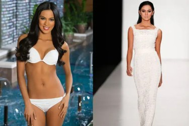 Ariella Arida is prettiest in this white Swimsuit as posted on the Miss Universe website (left photo) while she struts the 'Ariba Walk' or now more popular as the 'Miss Universe during the Tony Ward Couture Show.