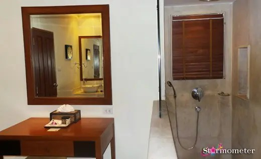 Vanity table and shower area