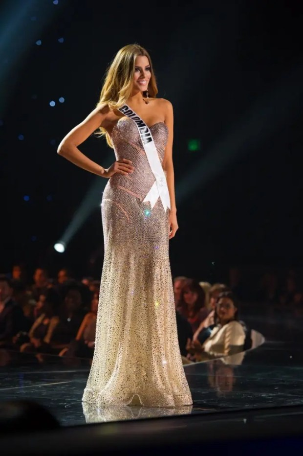 Ariadna Gutierrez, Miss Colombia 2015, competes on stage in her evening gown during The 2015 MISS UNIVERSE® Preliminary Show at Planet Hollywood Resort & Casino Wednesday, December 16, 2015. The 2015 Miss Universe contestants are touring, filming, rehearsing and preparing to compete for the DIC Crown in Las Vegas. Tune in to the FOX telecast at 7:00 PM ET live/PT tape-delayed on Sunday, Dec. 20, from Planet Hollywood Resort & Casino in Las Vegas to see who will become Miss Universe 2015. HO/The Miss Universe Organization