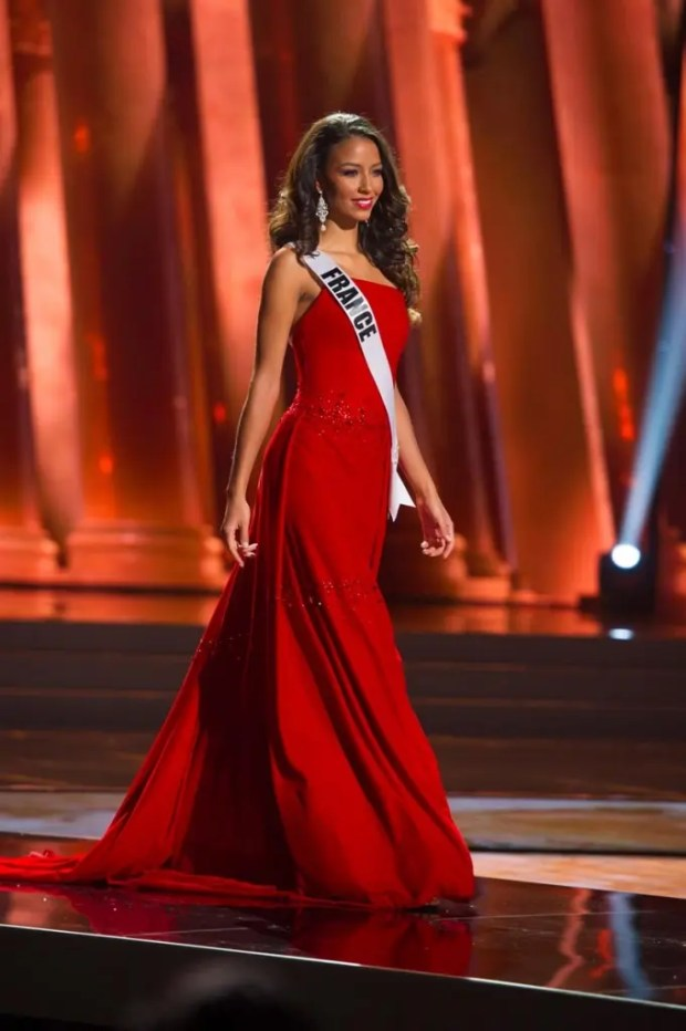 Flora Coquerel, Miss France 2015, competes on stage in her evening gown during The 2015 MISS UNIVERSE® Preliminary Show at Planet Hollywood Resort & Casino Wednesday, December 16, 2015. The 2015 Miss Universe contestants are touring, filming, rehearsing and preparing to compete for the DIC Crown in Las Vegas. Tune in to the FOX telecast at 7:00 PM ET live/PT tape-delayed on Sunday, Dec. 20, from Planet Hollywood Resort & Casino in Las Vegas to see who will become Miss Universe 2015. HO/The Miss Universe Organization