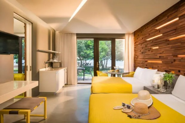 Two-bedroom Suite. The resort has 13 leaf-inspired villas that house 72 rooms and suites available. The deluxe rooms have floor areas of 38-sqm, 56-sqm for the one (1)- bedroom suites and 91-sqm for the two (2) bedroom suites.