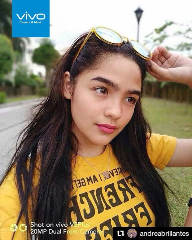 "Andrea Brillantes, teen actress, thanks the Vivo V5 Plus for always making her selfie game ""on point""."