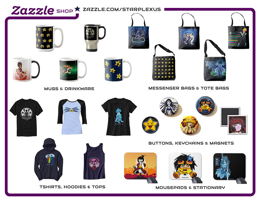 zazzle store starplexus tote bags merch