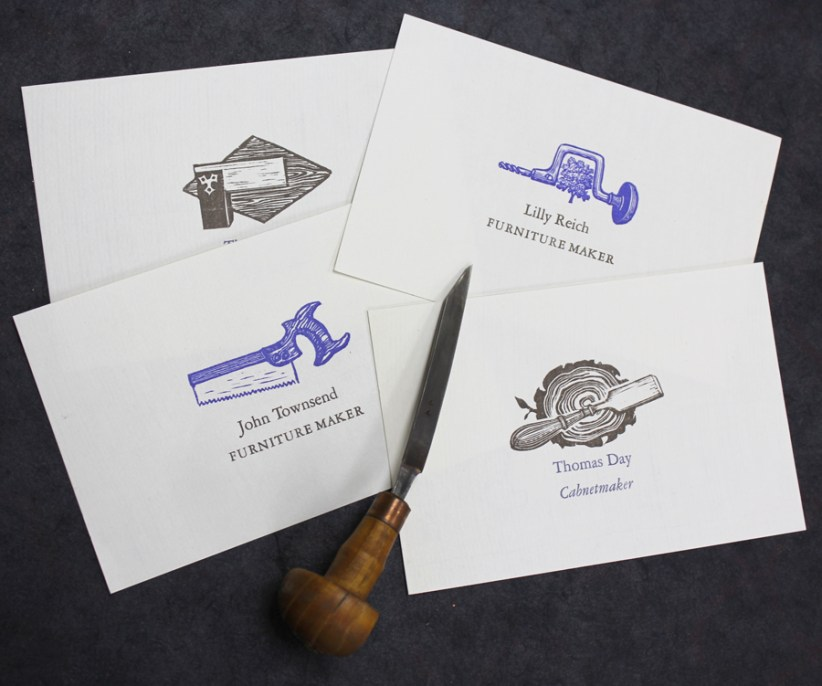 Custom designed and engraved wood working tool illustrations