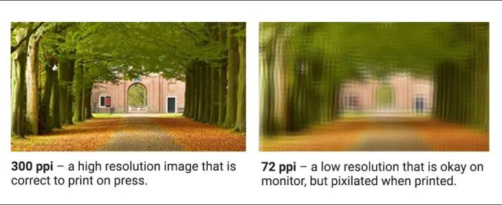 Example of 300 dpi versus 72 dpi resolution, prepress guide.