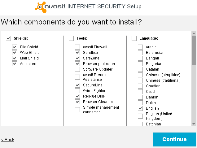 Avast Internet Security Setup - Which components do you want to install