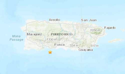 Map of Puerto Rico showing epicenter of earthquakes