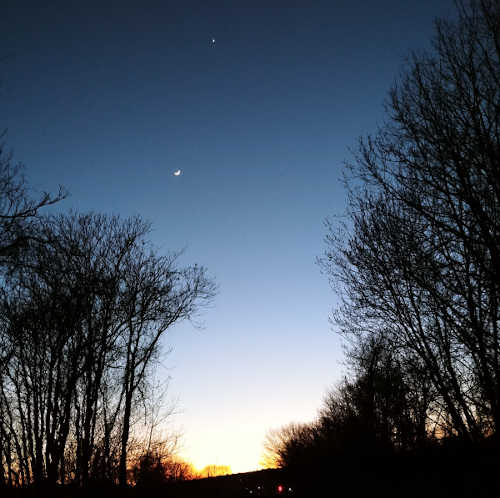 Moon and Venus over bikepath