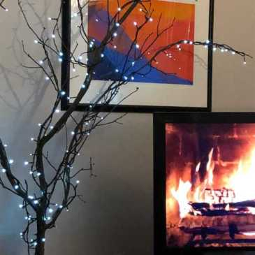 """Indoor Christmas tree and """"fireplace"""""""