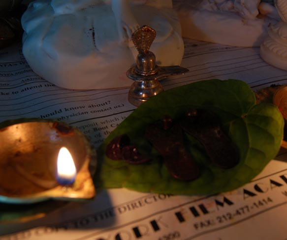 Paadhukas of shirdi sai baba kept over beetle leaves offering