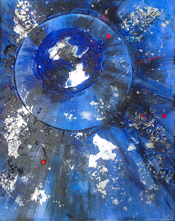 Abstract blue paintings by Emerald Dunne Art.