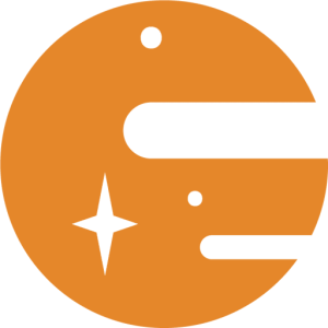 Orange planet with white stars on it. Icon from Starsight logo.