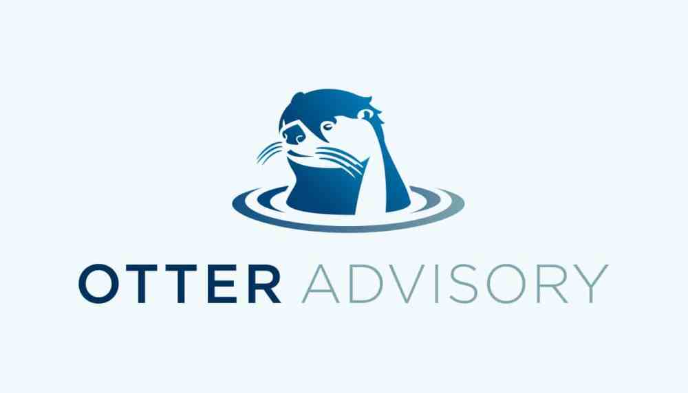 Logo for otter advisory, a blue graphic of an otter above the company name in blue.