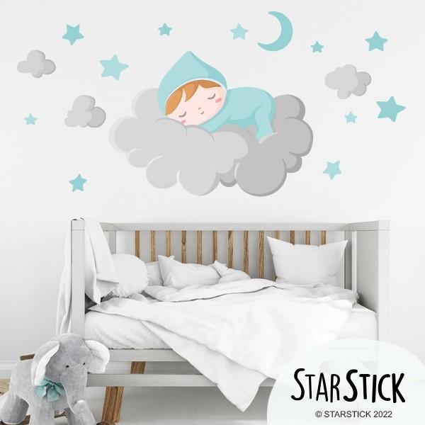 bebe dort sur le nuage gris stickers muraux bebe