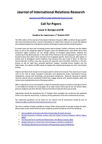 Call For Papers Journal Of International Relations Research START