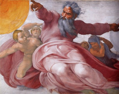 "Detail from the Sistine Chapel ceiling – ""The creation of the Sun, Moon and Planets"" by Michelangelo"