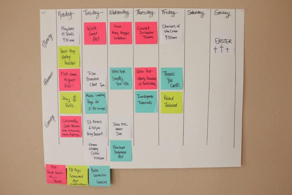 super simple weekly schedule