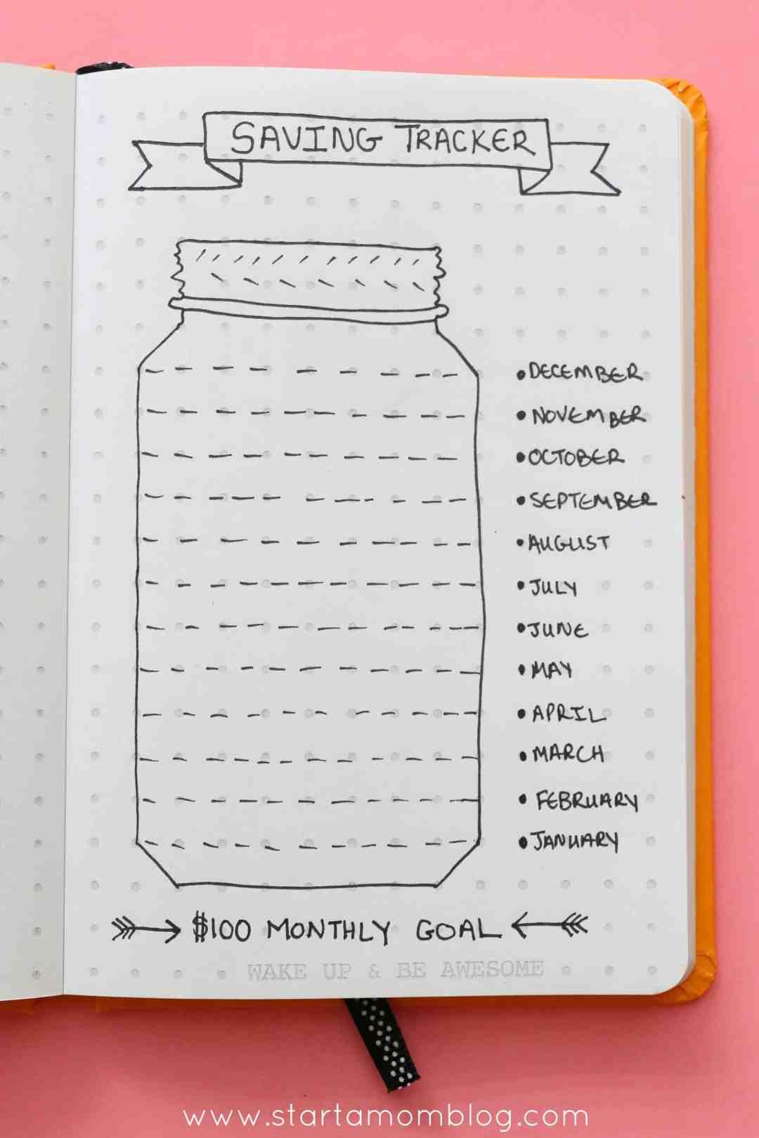 saving tracker log bullet journal