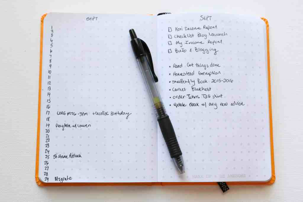 Monthly Log Bullet Journal for Bloggers and Moms