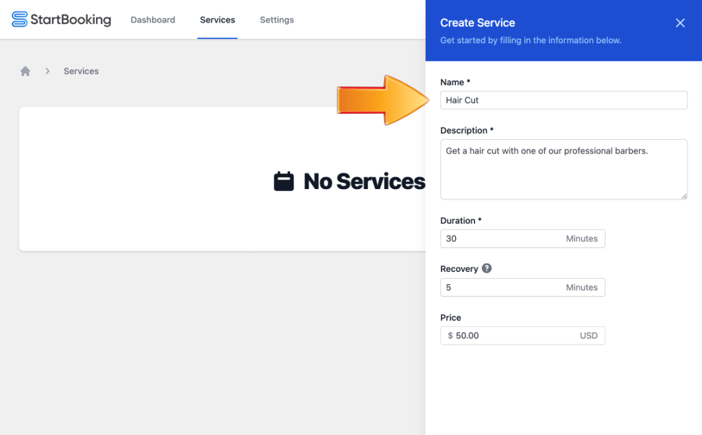 Create services for online scheduling