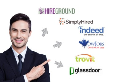 man pointing at different job board logos