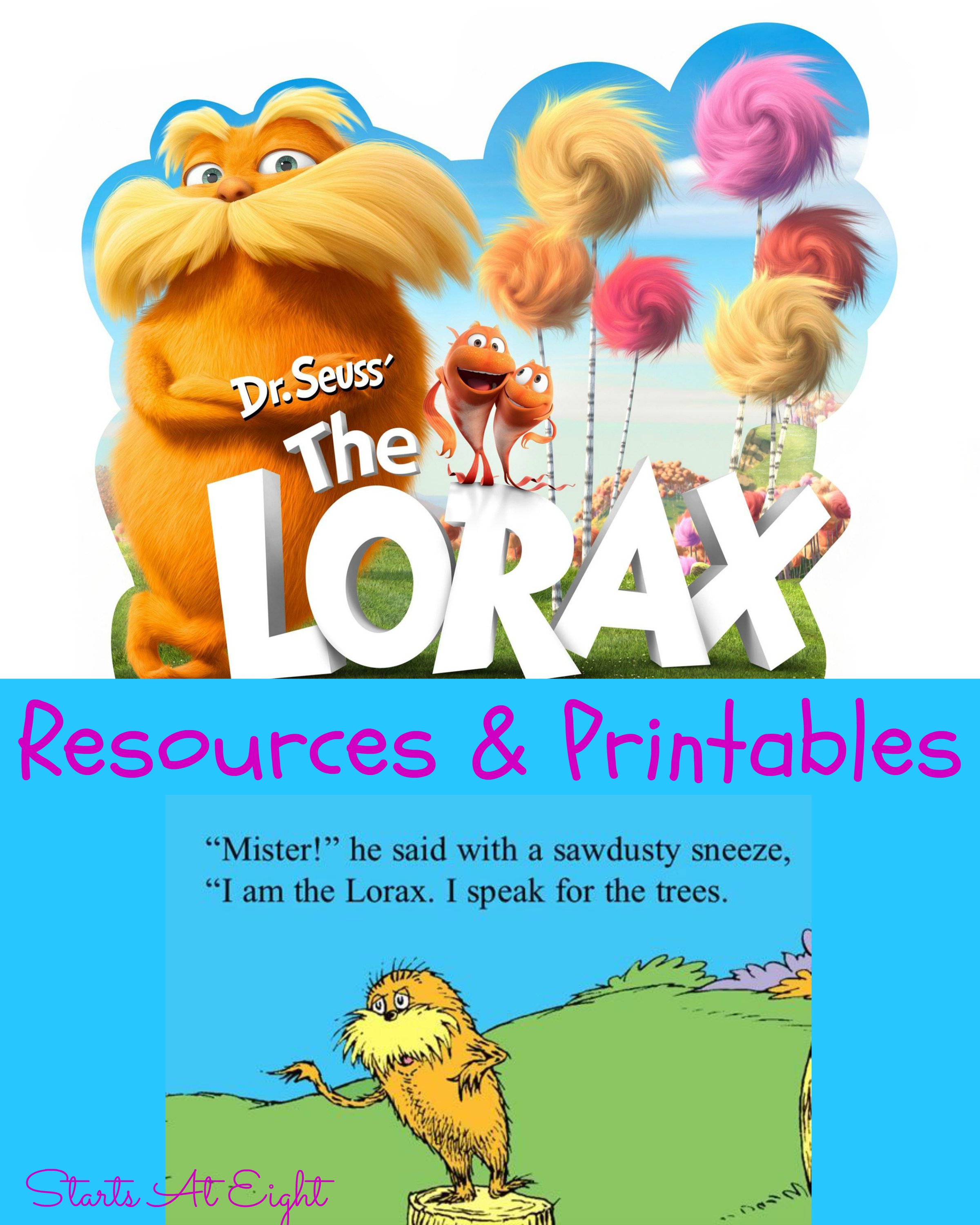 Dr Seuss S The Lorax Resources Amp Printables