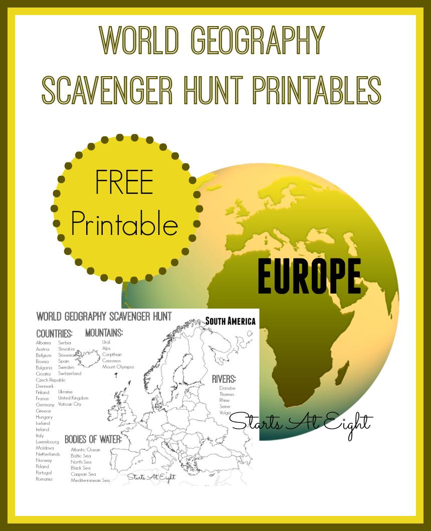 hight resolution of World Geography Scavenger Hunt: Europe ~ FREE Printable - StartsAtEight