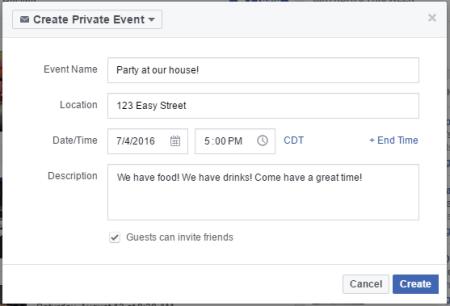 facebook event create