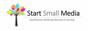 Start Small Media logo text white background