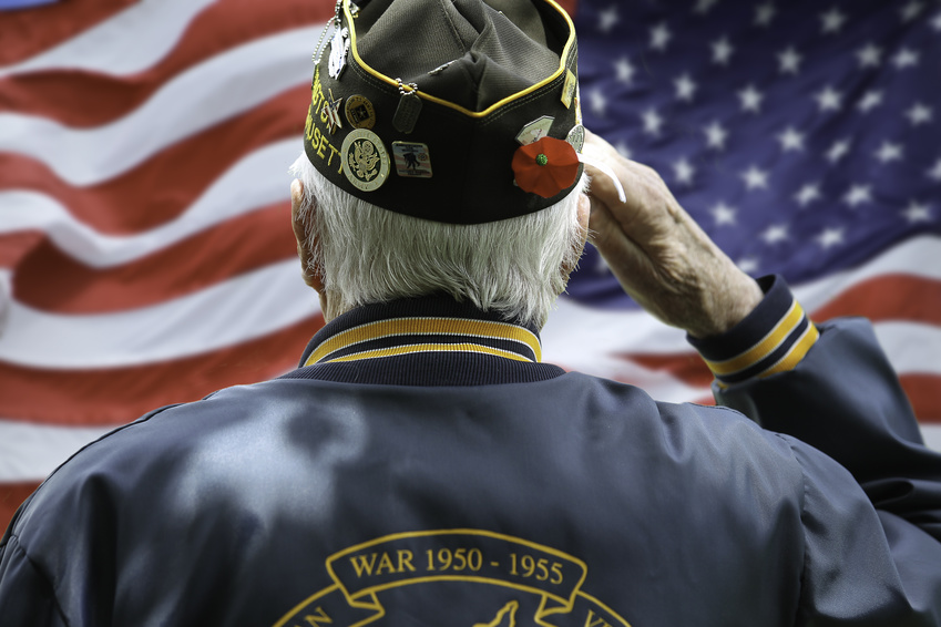 Veteran's Saluting in Front of US Flag