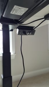 MojoDesk Clamp on Power bar below