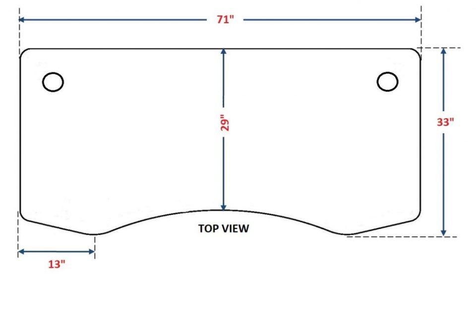 "ApexDesk Elite Standing Desk - 71"" Top Dimensions"