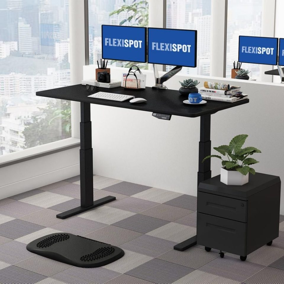 Flexispot Sanodesk Standing Desk Black Frame and Black Top Raised