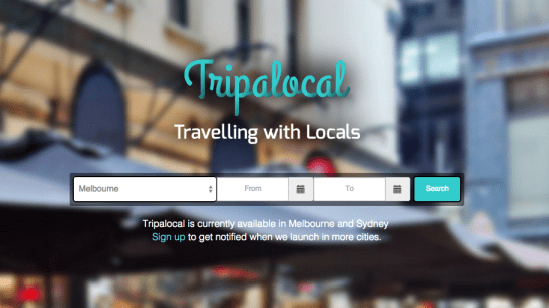 Screenshot of Tripalocal English version of the site